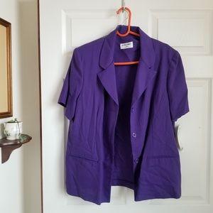 Alfred Dunner purple short sleeve buttondown top